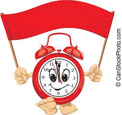 alarm, chorągiew, czerwony, zegar