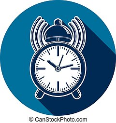 Alarm-clock 3d symbol, best for use in graphic design. Call the waiter concept. Time management theme.
