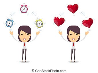 Alarm clock and a red heart at the woman in hands . Vector illustration