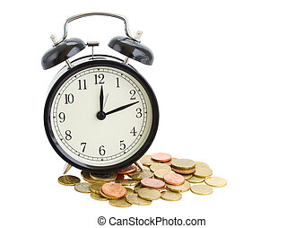 alarm clock and coins