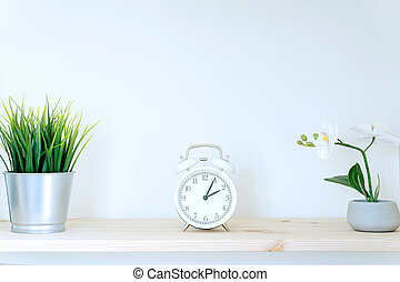 Alarm clock and flower pot on white background. Front view. Copy space