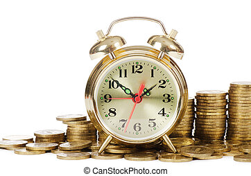 Alarm clock and money isolated on white background - Alarm ...