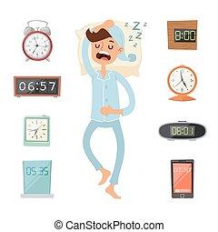 Alarm clock and sleeping man vector illustration