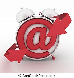 Alarm clock and symbol of e-mail. Concept online support. 3d...