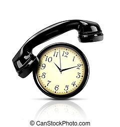 Alarm clock and telephone - Handset and watch on a white ...