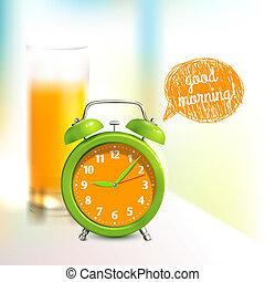 Alarm clock background - Alarm clock and orange juice glass...