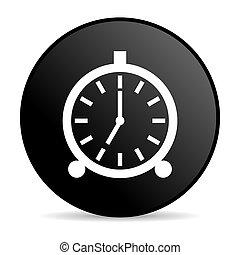 alarm clock black circle web glossy icon