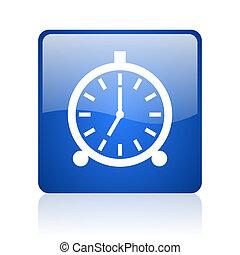 alarm clock blue square glossy web icon on white background