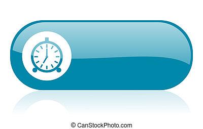 alarm clock blue web glossy icon