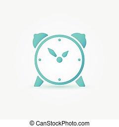 Alarm clock bright blue vector icon