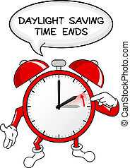 vector illustration of a alarm clock return to standard time daylight saving time ends
