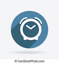 alarm clock. Circle blue icon with shadow.