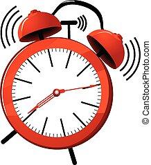 Alarm clock - Vector illustration of a red ringing alarm...