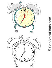 Alarm clock - Coloring page with cartoon alarm clock on a...