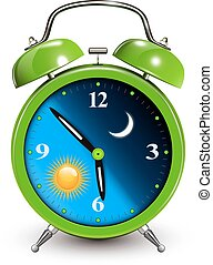 Alarm clock, day and night concept