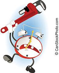Alarm Clock - Crazy cartoon alarm clock swinging a wrench