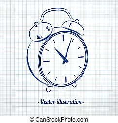 Alarm clock drawn on notebook chec