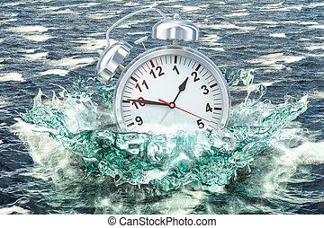 Alarm clock drowning in the sea, 3D rendering