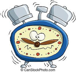 Alarm clock on white background, vector illustration