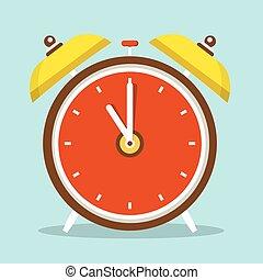 Alarm Clock Flat Design Icon