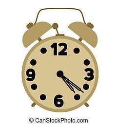 alarm clock flat illustration on white