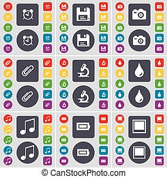 Alarm clock, Floppy, Camera, Clip, Microscope, Drop, Note, Battery, Window icon symbol. A large set of flat, colored buttons for your design. Vector