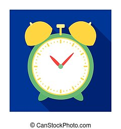 Alarm clock for early Wake up to school. Watch so as not to be late for school .School And Education single icon in flat style vector symbol stock illustration.