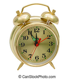 alarm clock gold isolated (clipping path)