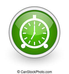 alarm clock green circle glossy web icon on white background