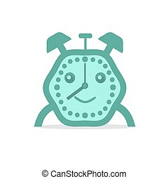 Alarm clock green color. Flat vector illustration on white baclground.