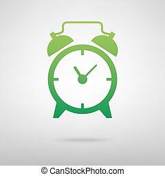 Alarm clock. Green icon