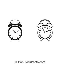 alarm clock - green vector icon