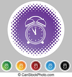 Alarm clock halftone icon set isolated on a white background.