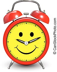 Alarm clock happy and smiling, funny vector illustration.