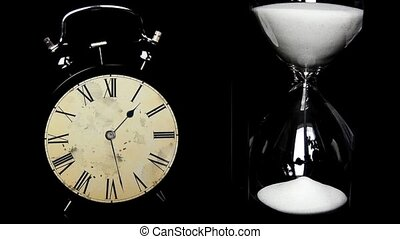Alarm Clock, hourglass. The concept
