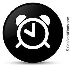 Alarm clock icon black round button