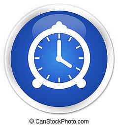 Alarm clock icon blue glossy round button