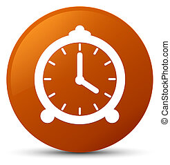 Alarm clock icon brown round button