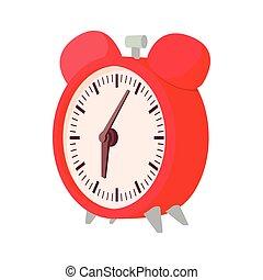 Alarm clock icon, cartoon style