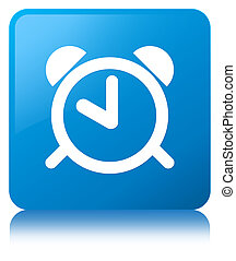 Alarm clock icon cyan blue square button