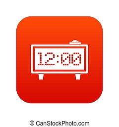 Alarm clock icon digital red