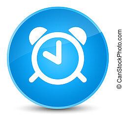 Alarm clock icon elegant cyan blue round button