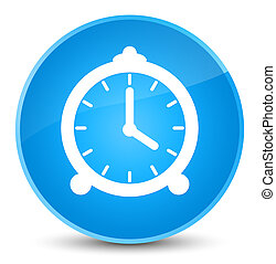 Alarm clock icon elegant cyan blue round button