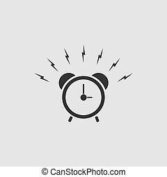 Alarm clock icon flat