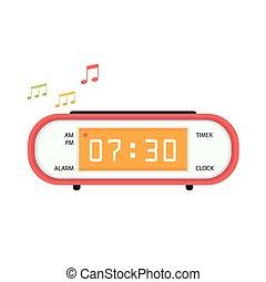 Alarm clock icon. Flat design style.