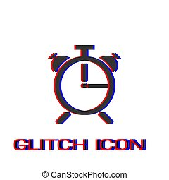 Alarm clock icon flat.