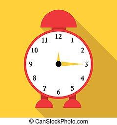 Alarm clock icon, flat style