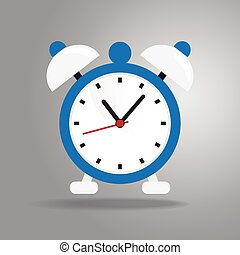 Alarm clock icon flat style on gray background
