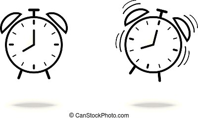 Alarm Clock icon flat style vector symbol wake up concept on white background for graphic design, Web site, UI.