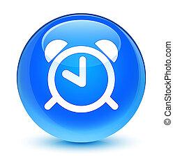 Alarm clock icon glassy cyan blue round button